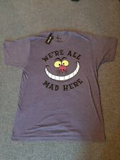 Hot Topic Disney Alice In Wonderland Unisex T-Shirt We're All Mad Here LARGE BN