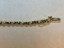 NATURAL EMERALD AND DIAMOND BRACELET - SET IN 14K YELLOW GOLD