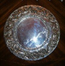 Argento massiccio 800 vassoio decorato  frutta in rilievo 600 gr diametro 30 cm