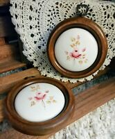 Vtg Home Interior HOMCO Wood Framed Ceramic Rose Floral Pink Round Wall Plaques