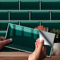 9pcs Turquoise Urban Bricks Self-adhesive Bath Kitchen Wall Tile Stair Sticker