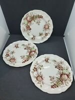 "Set (3) Vintage Johnson Brothers Harvest Time 7 3/4"" Salad Plates"