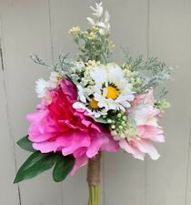Artificial Pink Peony Daisy & Mimosa Bouquet Faux Silk Realistic Flowers Peonies