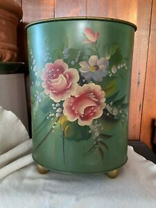 VTG Plymouth Tole Metal Wastebasket Trash Bin Footed Green & Floral Midcentury