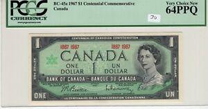 Canada 1967 1 Dollar PCGS Certified Banknote BC-45a Choice UNC 64 PPQ Centennial