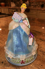 "Disney Shopping Cinderella Music Box 8"" tall Plays Christmas music Holiday Decor"
