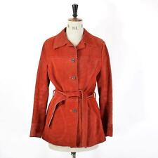 Women's Red VINTAGE 60s 70s REAL SUEDE LEATHER Belted Hippie Boho Jacket UK 10