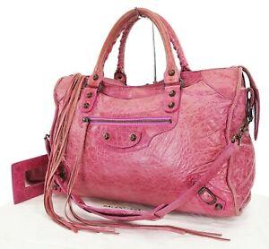 Auth BALENCIAGA City Pink Leather 2-Way Hand Shoulder Tote Bag Purse #37114