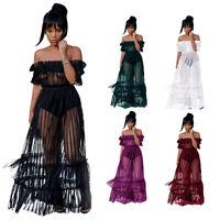 2021 SEXY Netz Kleid schulterfrei Clubwear Partykleid Abendkleid Ballkleid BC713