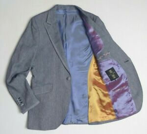 Holland Esquire Mens Blazer Jacket 40 Linen Cotton Sport Coat Peak Lapel Denim