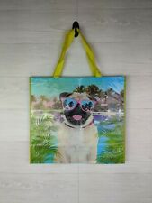 NEW TJ Maxx Reusable Pug Dog Green Gift Shopping Bag AND Reusable Plastic Insert