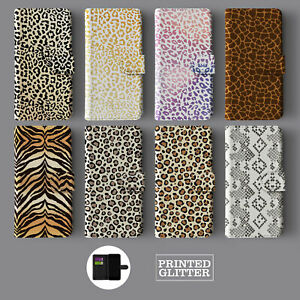 ANIMAL PRINT LEOPARD GOLD GLITTER SNAKE LEATHER WALLET PHONE CASE FOR IPHONE