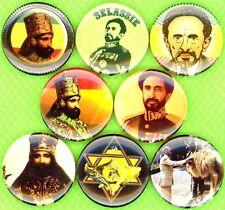 Haile Selassie 8 NEW 1 inch pins buttons badges rasta rastafarian