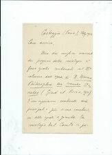Lettera Autografo Psicologo Guido Villa Università di Pavia Casteggio Pavia 1912