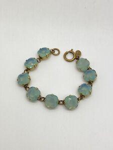 "Vintage CATHERINE POPESCO La Vie Parisienne Blue Opal Swarovski Bracelet 7"""