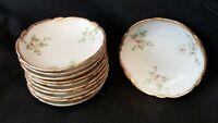Limoges Theodore Haviland China H553 Pink Roses Brushed Gold Butter Pat Plate
