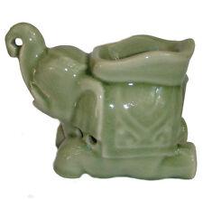 Celadon Ceramic Trunk Up Elephant Oil Burner from Northern Thailand