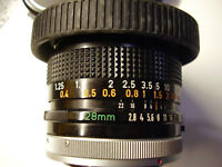 VERY SHARP! CANON FD MOUNT CANON JAPAN 28mm f/2.8 WIDE ANGLE PRIME LENS