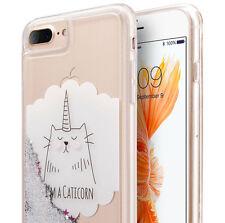 iPhone 7+ Plus - TPU Rubber Floating Liquid Silver Glitter Stars Case Kitty Cat