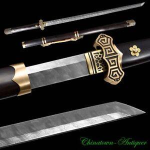 Qiankun Sabre Sword TangDao Ladder Pattern Damascus Steel Blade Sharp knife#2853