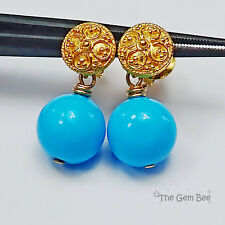 18K Solid Yellow Gold Old Stock Persian Turquoise Earrings