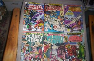 Lot of 9 Marvel TV,Movie Comics 1976-1980 GALACTICA,PLANET OF APES,GODZILLA,etc.