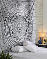 Grey Ombre Mandala Bohemian Wall Hanging Queen Size Indian Cotton New Tapestry