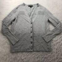 Lane Bryant Plus Size 14/16 Cardigan Sweater Gray V-Neck Button Up Long Sleeve