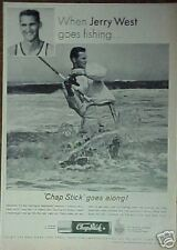 1964  Goes Fishing Print Jerry West L.A.Lakers Basketball Memorabilia Sports Ad
