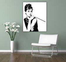 Audrey Hepburn-Impreso En Lona-Impresionante Enmarcado Arte De Pared tamaños-Negro Blanco