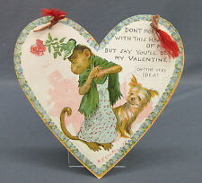 1903 Tuck Outcault Paper Hanging Valentine Heart Dressed Monkey in Hat & Dog