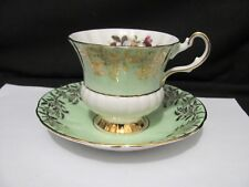 Vintage Crown Prince  Green & White Tea cup & saucer Hawthrone Blossom Flowers