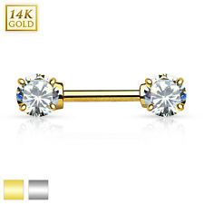 14k Solid Gold Nipple Bar Double Clear Prong Set AAA CZ 12mm Piercing Genuine UK