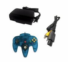 AC Adapter + Turquoise Controller + AV Cable Cord  Bundle for Nintendo 64 N64