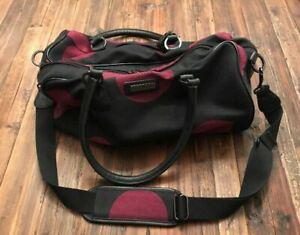 "Hartmann Black w/ purple polka dot duffle bag  ""NEVER USED""  16.5"" x 8.5"" x 8"""