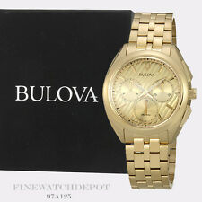 Authentic Bulova Men's Chronograph Gold-Tone Stainless Steel Watch 97A125
