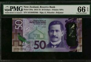 2015 -16 New Zealand 50 Dollars PMG66 EPQ GEM UNC  <P-194a>