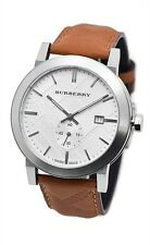 Burberry BU9904 The City Brown Embossed Check Leather Silver Dial 38MM AUTHENTIC
