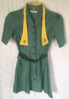 "Vtg Official Girl Scout Uniform Green Short Sleeve Tie Belt USA 1960s 25"" Waist"