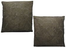 Pack of 2 Brown Embroidered Suede Effect Cushion Covers