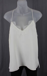 Cami Women's Ivory Silk Lace Sleeveless Blouse Top Size S