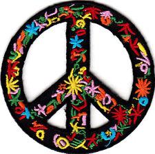 FLOWER PEACE SIGN Biker Love Woodstock Peace Iron On Patch