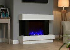 WHITE BLACK MODERN WALL MOUNTED SURROUND ELECTRIC FIRE FIREPLACE SUITE CRYSTALS