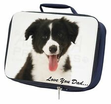 Border Collie Pup 'Love You Dad' Navy Insulated School Lunch Box Bag, DAD-17LBN