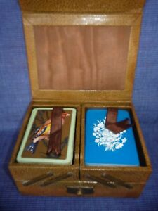 Vintage Playing Card Cantilever Box Card Case for 4 Packs of Cards Faux Leather