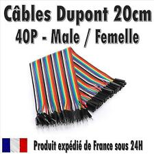 40x Cables Dupont 20cm Male/Femelle pour BreadBoard Arduino, Raspberry Pi