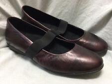 1803 burgundy leather flats maryjanes with elastic strap. EU 42/US 10