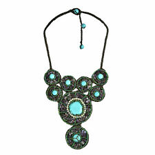 Perfection Turquoise and Amethyst Statement Bib Necklace