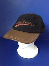 Harley Davidson Black Wool Brown Leather Trim Bill Baseball Hat~leather strap