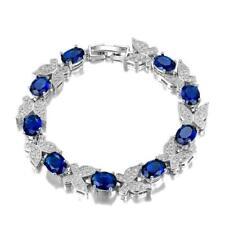 Luxury 925 Silver Sapphire Birthstone Butterfly Bracelet Women Wedding Jewelry